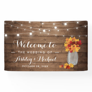 Rustic Country Autumn Leaves String Lights Wedding Banner