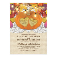 Rustic Country Autumn Pumpkin Lace Wedding Invitation