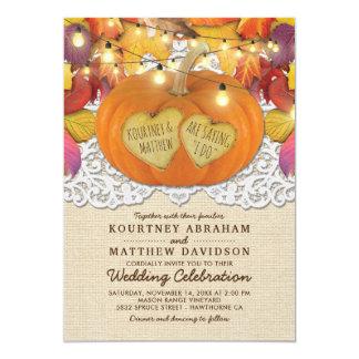 Rustic Country Autumn Pumpkin Lace Wedding Invitation