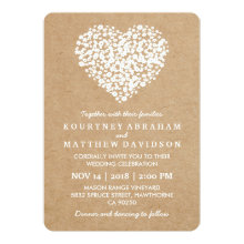 Rustic Country Gypsophila Heart Wedding Invitations