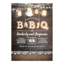 Rustic Country BaByQ Couples Baby Shower Card
