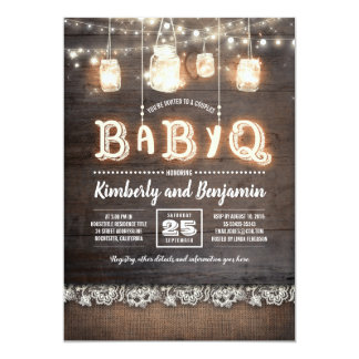 Rustic Country BaByQ Couples Baby Shower Invitation