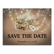 Rustic Country Babys Breath Lights Save the Date Postcards