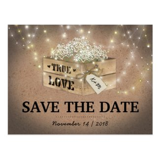 Rustic Country Baby's Breath  Save the Date Postcards