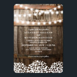 """Rustic Country Baby&#39;s Breath String Lights Wedding Card<br><div class=""""desc"""">Country wedding invitations featuring a rustic wood barrel background,  twinkle string lights,  a baby&#39;s breath floral design,  your monogram and an elegant editable wedding template.  You will find matching wedding items further down the page,  if however you can&#39;t find what you looking for please contact me.</div>"""