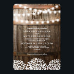 "Rustic Country Baby&#39;s Breath String Lights Wedding Invitation<br><div class=""desc"">Country wedding invitations featuring a rustic wood barrel background,  twinkle string lights,  a baby&#39;s breath floral design,  your monogram and an elegant editable wedding template.  You will find matching wedding items further down the page,  if however you can&#39;t find what you looking for please contact me.</div>"