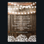 "Rustic Country Baby's Breath String Lights Wedding Invitation<br><div class=""desc"">Country wedding invitations featuring a rustic wood barrel background,  twinkle string lights,  a baby's breath floral design,  your monogram and an elegant editable wedding template.  You will find matching wedding items further down the page,  if however you can't find what you looking for please contact me.</div>"