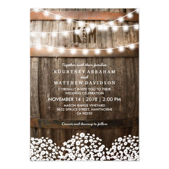 rustic country baby u0026 39 s breath string lights wedding