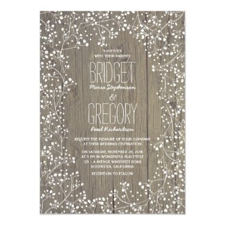 Rustic Country Baby's Breath Wedding Card