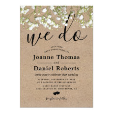 Rustic Country Baby's Breath Wedding Invitation