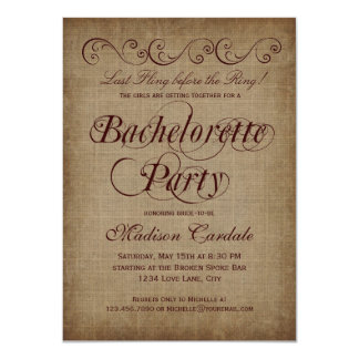 Rustic Country Bachelorette Party Invitations