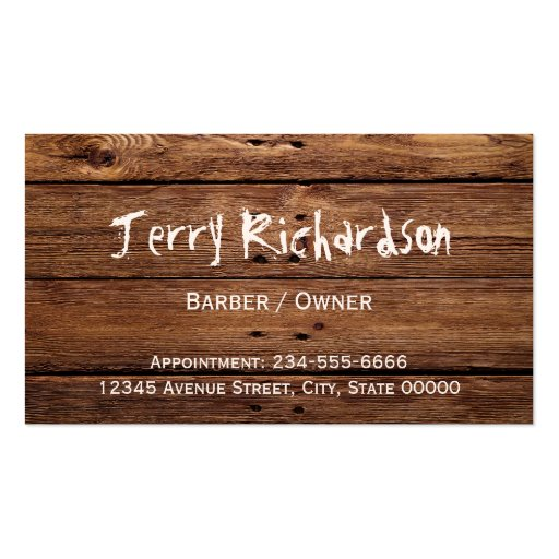 Rustic Country Barber Shop Scissors and Razor Business Card Template (back side)