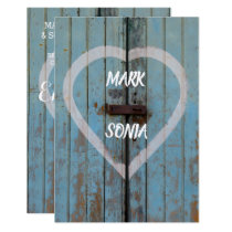Rustic country bard door Engagement party Card