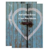 Rustic country bard door wedding invitation