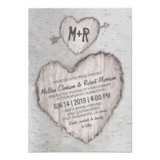 Rustic Country Bark Birch Tree Wedding Invitation