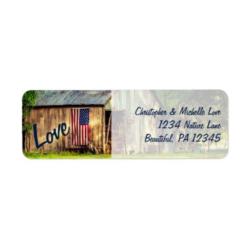 USA Themed Rustic Country Barn American Flag Love Address Label