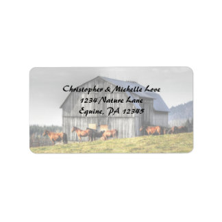 Rustic Country Barn and Horses Address Label