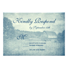 Rustic Country Barn Blue Wedding RSVP Cards