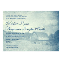 Rustic Country Barn Distressed Blue Invitations