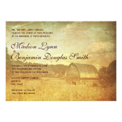 Rustic Country Barn Distressed Wedding Invitations