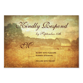 Rustic Country Barn Distressed Wedding RSVP Cards
