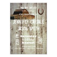 Rustic Country Barn Horseshoe Wedding Invitations