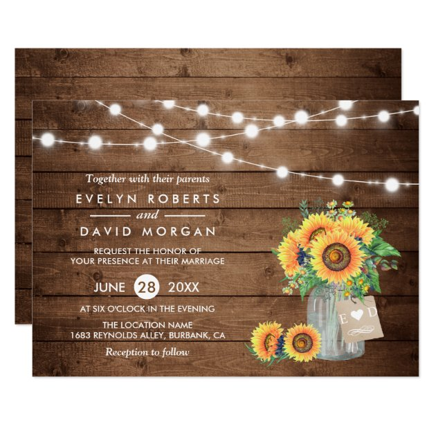 Rustic Country Barn Lights Sunflowers Wedding Card