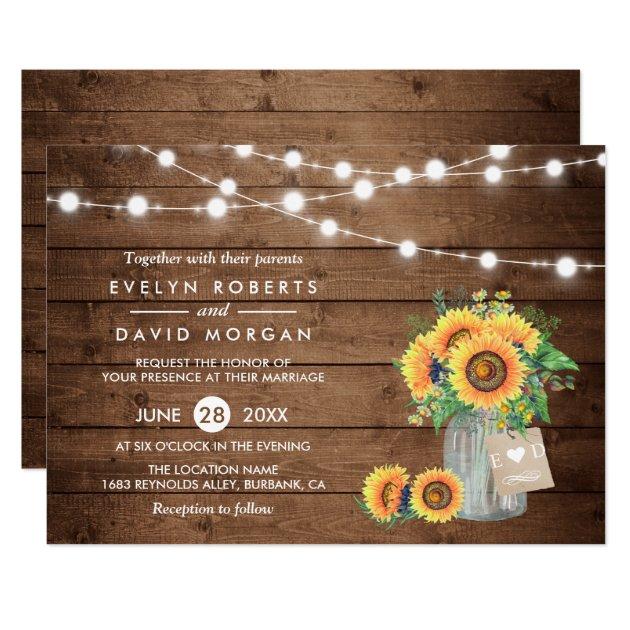 Rustic Country Barn Lights Sunflowers Wedding Card