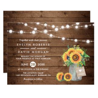 Rustic Country Barn Lights Sunflowers Wedding Invitation