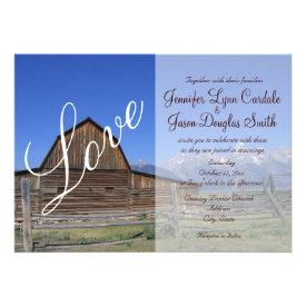 Rustic Country Barn Love Wedding Invitations