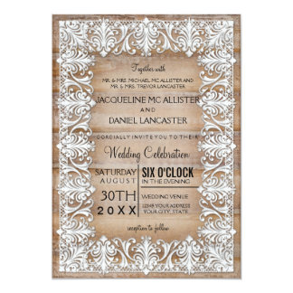 Rustic Country Barn Style Lace n Wood Wedding Card