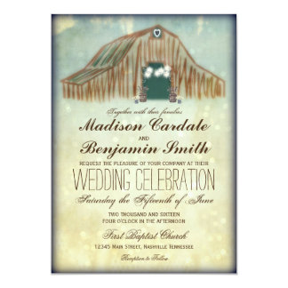 rustic country barn wedding invitations