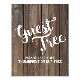 rustic Country Barn wedding party Guest Tree Photo Print