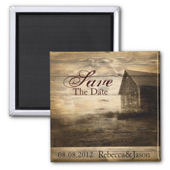 Rustic Country Barn Wedding save the date 2 Inch Square Magnet