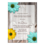 """Rustic Country Barn with Colorful Daisies Wedding 5"""" X 7"""" Invitation Card"""