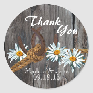 Rustic Country Barn Wood and Daisies Classic Round Sticker