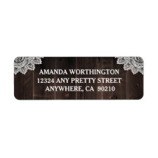Rustic Country Barn Wood and Lace Wedding Label