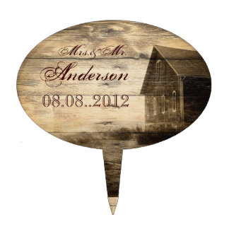 Rustic Country Barn Wood Barn Wedding Cake Topper