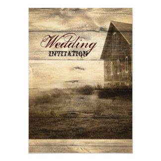 Rustic Country Barn Wood Barn Wedding Card