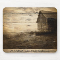 Rustic Country Barn Wood Barn Wedding Mouse Pad
