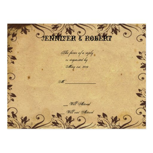 Rustic Country Barn Wood Beauty Wedding RSVP Postcard