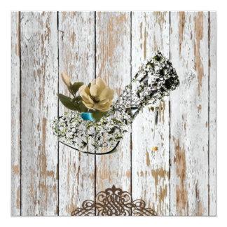 rustic country barn wood bohemian wedding card
