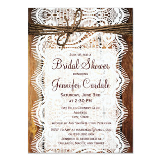 Rustic Country Barn Wood Bridal Shower Invitations