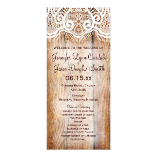 Rustic Country Barn Wood Custom Wedding Programs