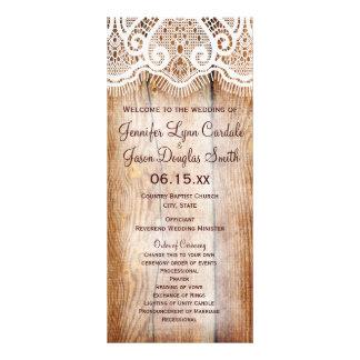 Rustic Country Barn Wood Custom Wedding Programs Full Color Rack Card