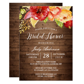 Rustic Country Barn Wood Floral Fall Bridal Shower Card