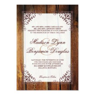 Rustic Country Barn Wood Frame Wedding Invitations