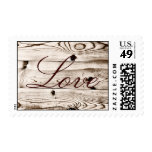 Rustic Country Barn Wood Grain LOVE Postage Stamps