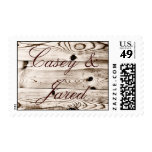 Rustic Country Barn Wood Grain Wedding Stamps