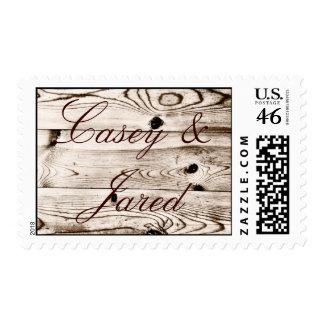 Rustic Country Barn Wood Grain Wedding Stamps